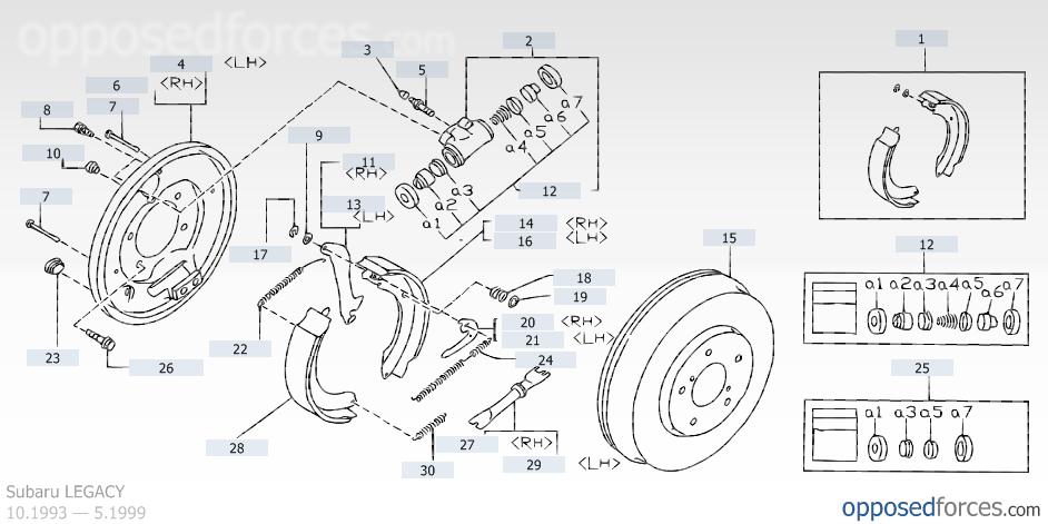 Service Manual 2000 Subaru Legacy Brake Drum Structure