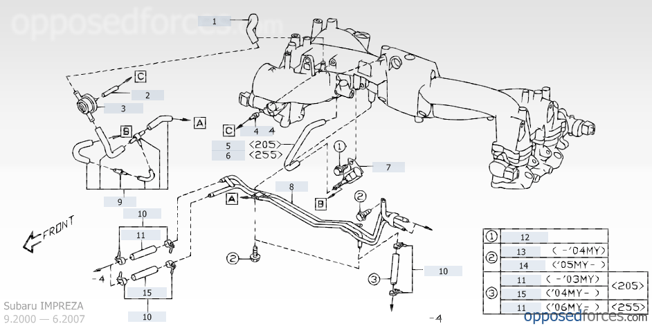 intake manifold \u2014 illustration 3, subaru impreza \u2014 subaru parts catalog Subaru Fuel System Diagram