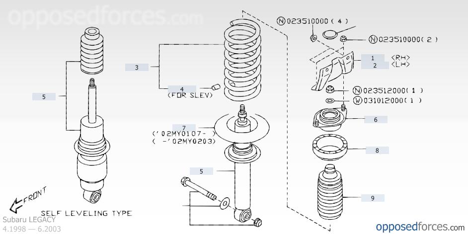 Rear Shock Absorber Subaru Legacy Parts Catalog